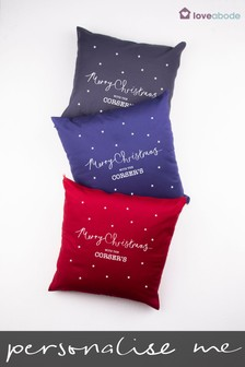 Personalised Merry Christmas Cushion by Loveabode
