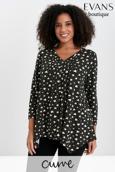 Evans Curve Black Heart Print Pintuck Top