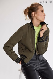 Mint Velvet Green Khaki Zip Pocket Bomber Jacket