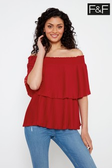 F&F Red Pleat Bardot Blouse