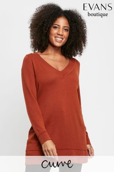 Evans Curve Rust Ripple Hem V-Neck Jumper