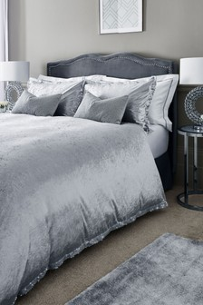 Velvet Sequin Border Duvet Cover And Pillowcase Set