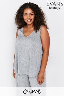 Evans Curve Grey Marl V-Neck Vest Top