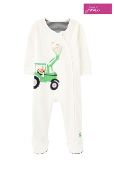 Joules White Zippy Organically Grown Cotton Zip Sleepsuit