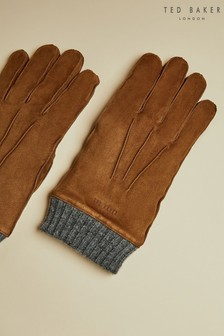 Ted Baker Tan Ladd Suede Cuffed Gloves