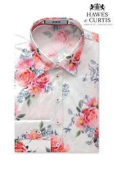 Hawes & Curtis Blue Floral Fitted Shirt