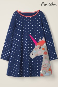 Mini Boden Blue Long Sleeve Appliqué Dress