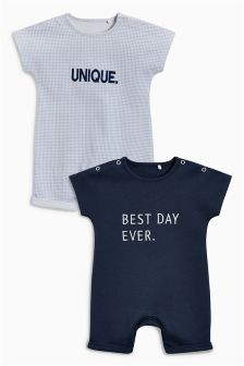 Slogan Rompers Two Pack (0mths-2yrs)