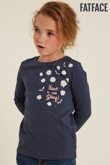 FatFace Blue Daisy Placement Graphic T-Shirt