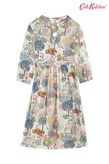 Cath Kidston® Fearne Dream Forest Sushi Voile Midikleid, Creme
