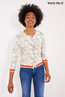 White Stuff Green Orange Printed Cardigan