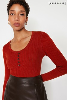 Warehouse Tan Scoop Neck Ribbed Jumper