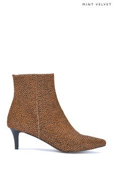 Mint Velvet Bronze Jodie Spot Kitten Heel Boots
