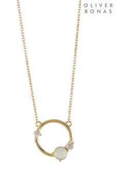 Oliver Bonas Elif Stone Cluster Gold Plated Necklace
