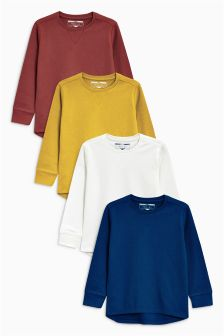 Eyelet Waffle Long Sleeve Tops Four Pack (3mths-6yrs)