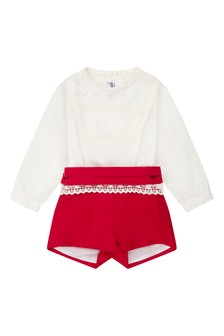 Baby Boys Ivory/Red Romper Suit