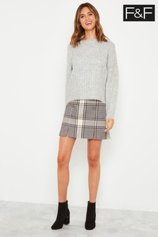 F&F Neutral Split Front Button Mini Skirt