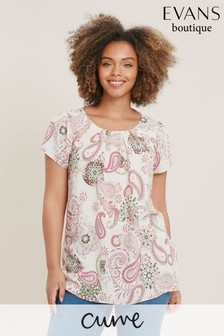 Evans Multi Pastel Curve Paisley Shell Top