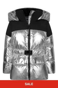Girls Metallic Silver Down Padded Jacket