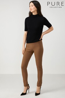 Pure Collection Camel Cotton Stretch Skinny Trousers