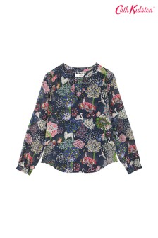 Cath Kidston® Blue Fearne Dream Forest Blouse With Rouleau Loop Insert