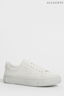 AllSaints White Trish Low Top Lace-Up Trainers