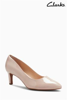 Clarks Nude Patent Calla Rose Mid Heel Court Shoe