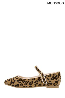 Monsoon Clarissa Leopard Ballerinas