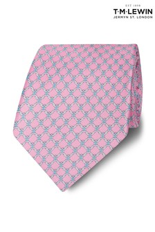 T.M. Lewin Made In Italy Wide Pink, Blue And White Chain Link Tie