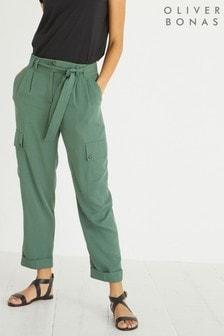 Oliver Bonas Khaki Green Cargo Trousers