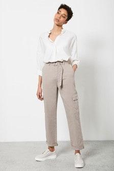 Mint Velvet Pale Brown Chino Cargo Trouser