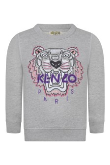 Girls Grey Tiger Cotton Sweater