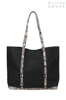 Oliver Bonas Black Cemery Croc E To W Tote Bag