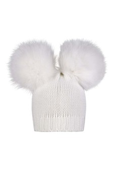 Girls Cream Wool Hat With Faux Fur Pom Pom