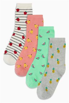 Fruit Pattern Ankle Socks Four Pack