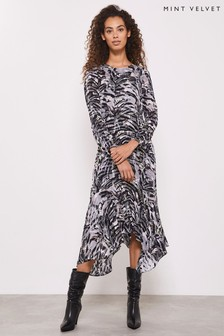 Mint Velvet Grey Izzy Puff Sleeve Midi Dress