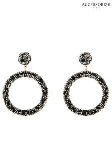 Accessorize Black Gemma Beaded Hoop Earrings