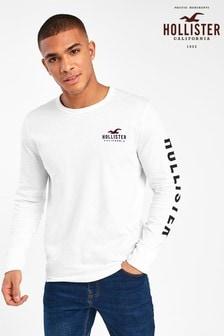 Hollister White Long Sleeve Logo T-Shirt