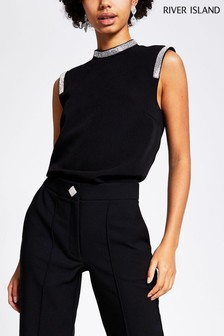 River Island Black Structured Shell Top