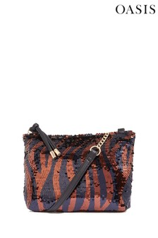 Oasis Brown Tiger Sequin Bag