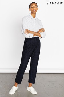 Jigsaw Blue Pleat Check Turn-Up Trousers