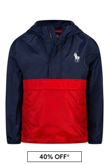 Boys Navy/Red Pullover Jacket
