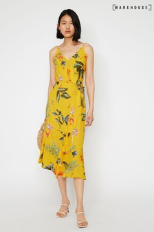 Warehouse Yellow Hibiscus Floral Midi Dress
