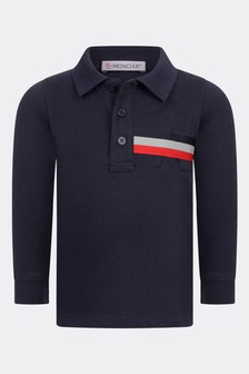 Baby Boys Navy Cotton Long Sleeve Polo Top