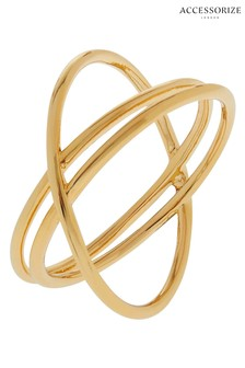 Accessorize Gold Tone Z Double Kiss Ring