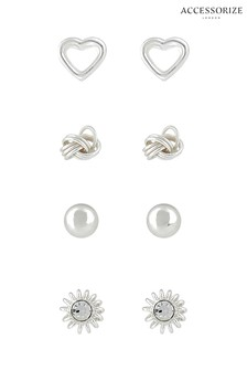 Accessorize Sterling Silver Mix Stud Earrings Set