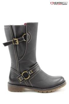 Heavenly Feet Black Ella Black Mid Calf Boots