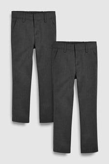 מארז שני זוגות מכנסיים חלקים בגזרה צרה (גילאי 3 עד 16)