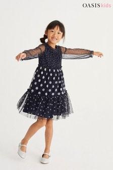 Oasis Mono Spot Tiered Mesh Dress