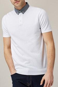 Рубашка поло с тканым воротником